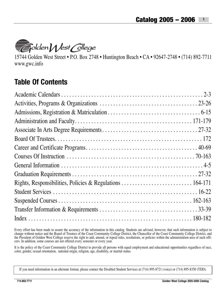 Ucm Academic Calendar.Table Of Contents Golden West College
