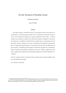 On the Taxation of Durable Goods