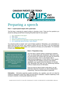 Preparing a speech - Canadian Parents for French