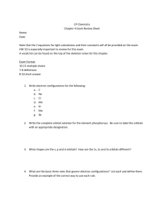 CP Chemistry Chapter 4 Exam Review Sheet Name: Date: Note that