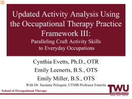 Updated Activity Analysis Using the Occupational Therapy Practice