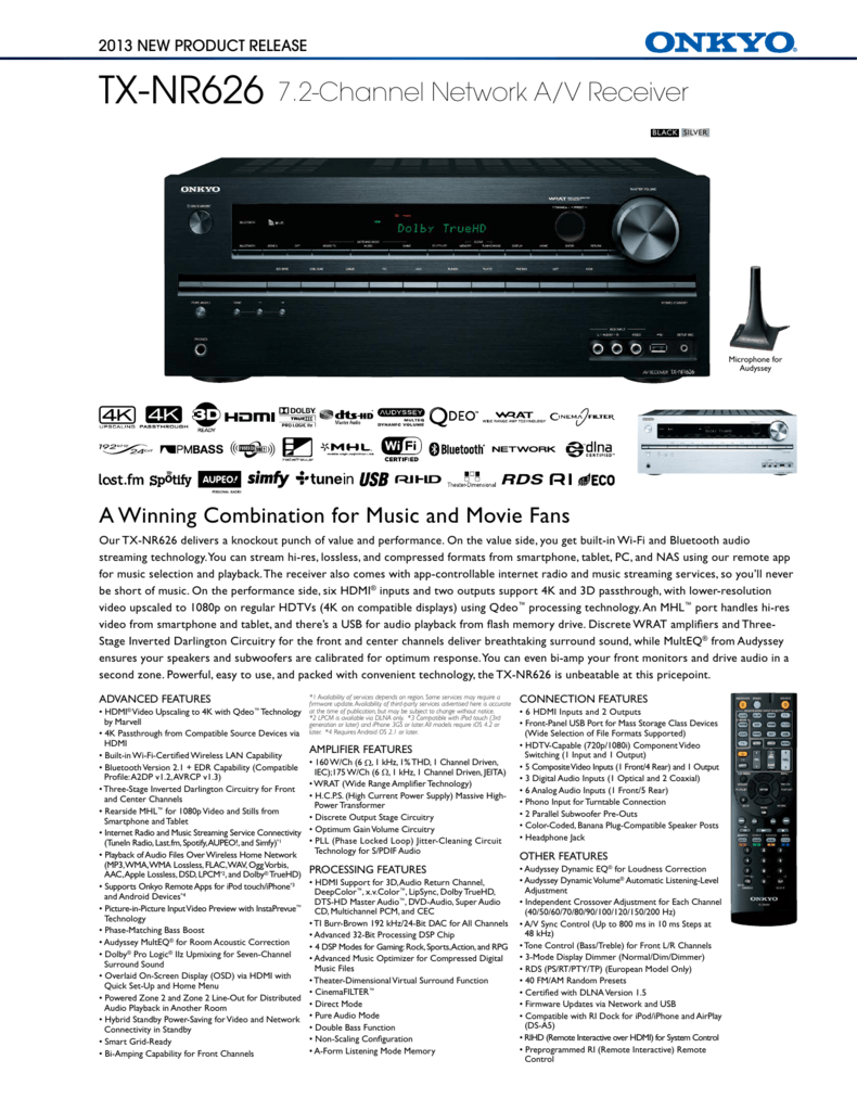 TX-NR626 7 2-Channel Network A/V Receiver
