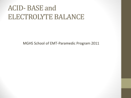 ACID- BASE and ELECTROLYTE BALANCE