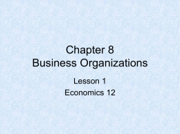 Business Organizations Lesson 1