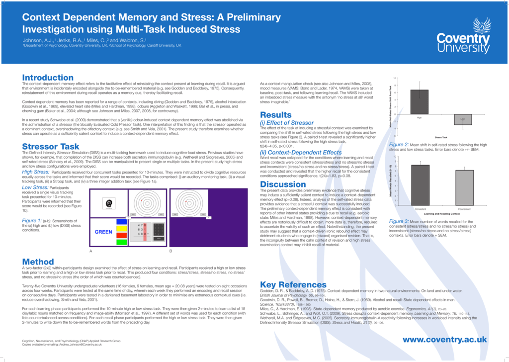 Context Dependent Memory and Stress