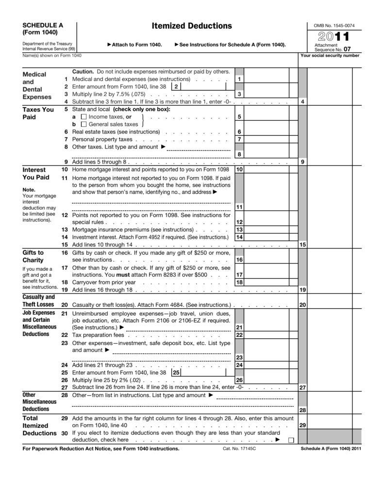 2011 form 1040 schedule a falaconquin