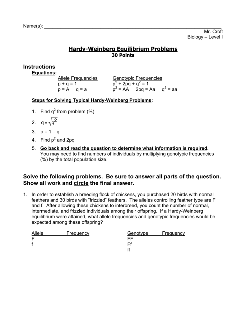 Worksheets Hardy Weinberg Worksheet hardy weinberg equilibrium problems instructions solve the