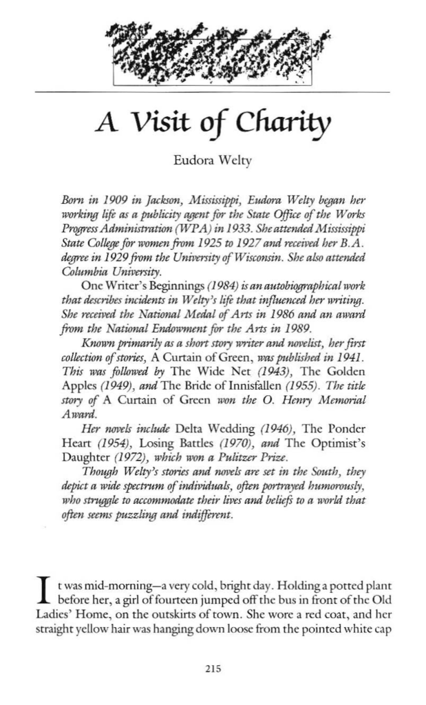 a visit of charity by eudora welty