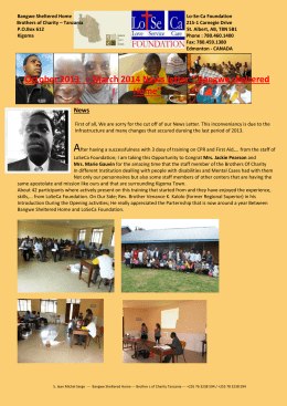 "October 2013 – March 2014 News letter "" Bangwe sheltered Home"""