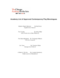 Academy List of Approved Contemporary Play Monologues