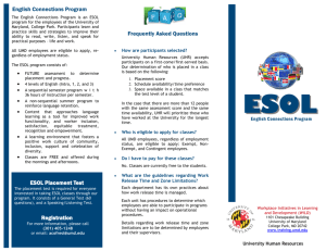 English Connections Program ESOL Placement Test Registration