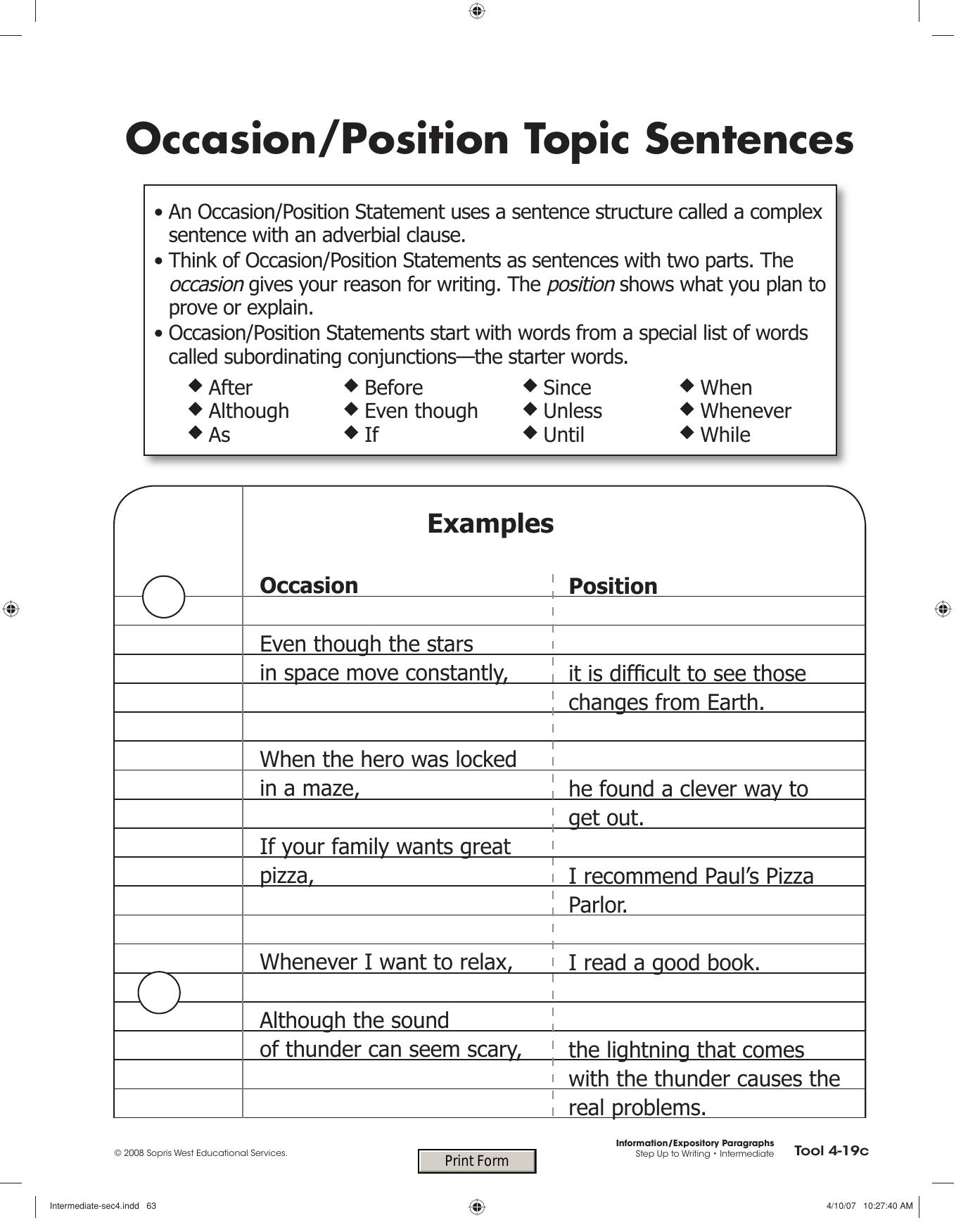 Occasion/Position Topic Sentences