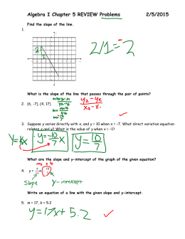 Algebra I Chapter 5 REVIEW Problems 2/5/2015