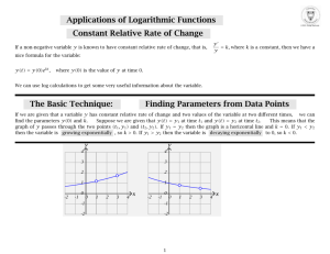 Applications of Logarithmic Functions Constant Relative Rate of