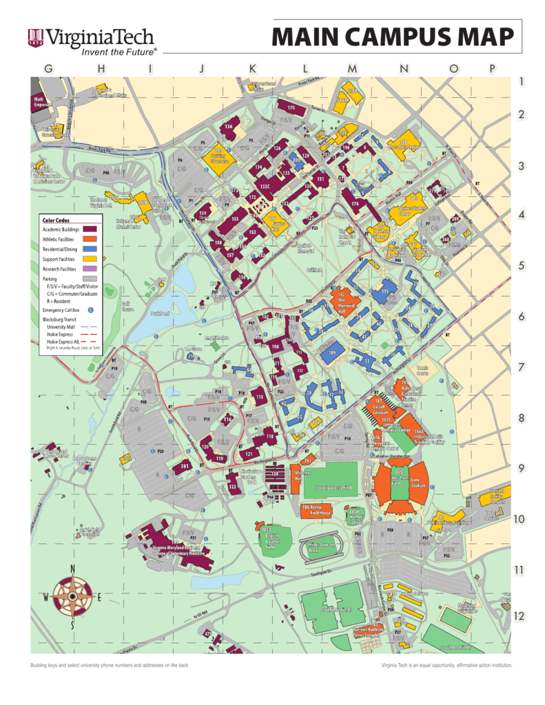 Main Campus Map Maps Locations Virginia Tech