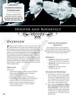 Hoover and Roosevelt and the Great Depression Lesson