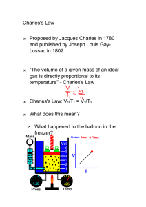 Charles's Law • Proposed by Jacques Charles in 1780 and