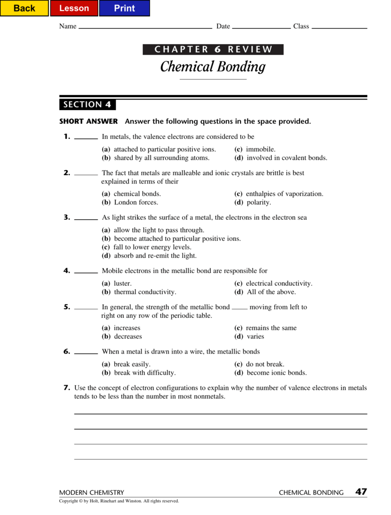 Chemical Bonding With Chemical Bonds Worksheet Answers