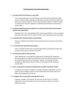 Ten Characteristics of an Inclusive Organization 1. It accepts