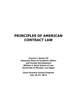 PRINCIPLES OF AMERICAN CONTRACT LAW