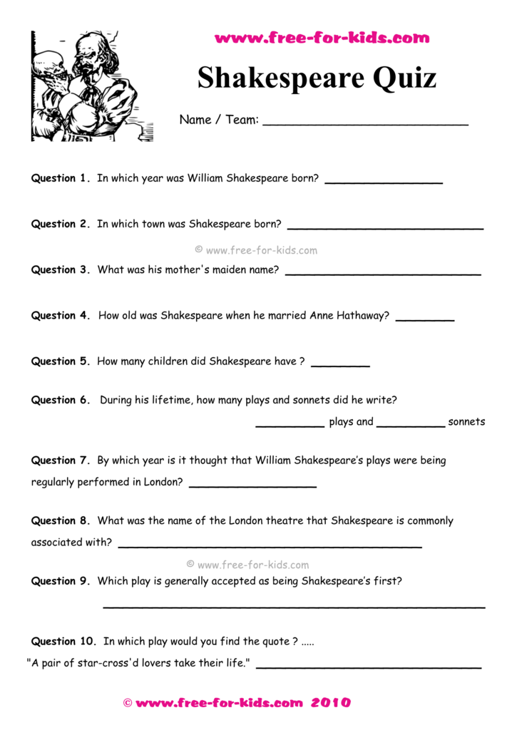 Shakespeare Quiz With Answers