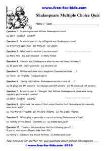 Shakespeare Multiple Choice Quiz