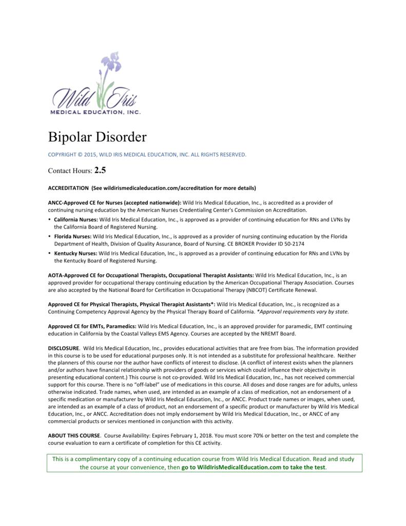 Bipolar Disorder - Wild Iris Medical Education