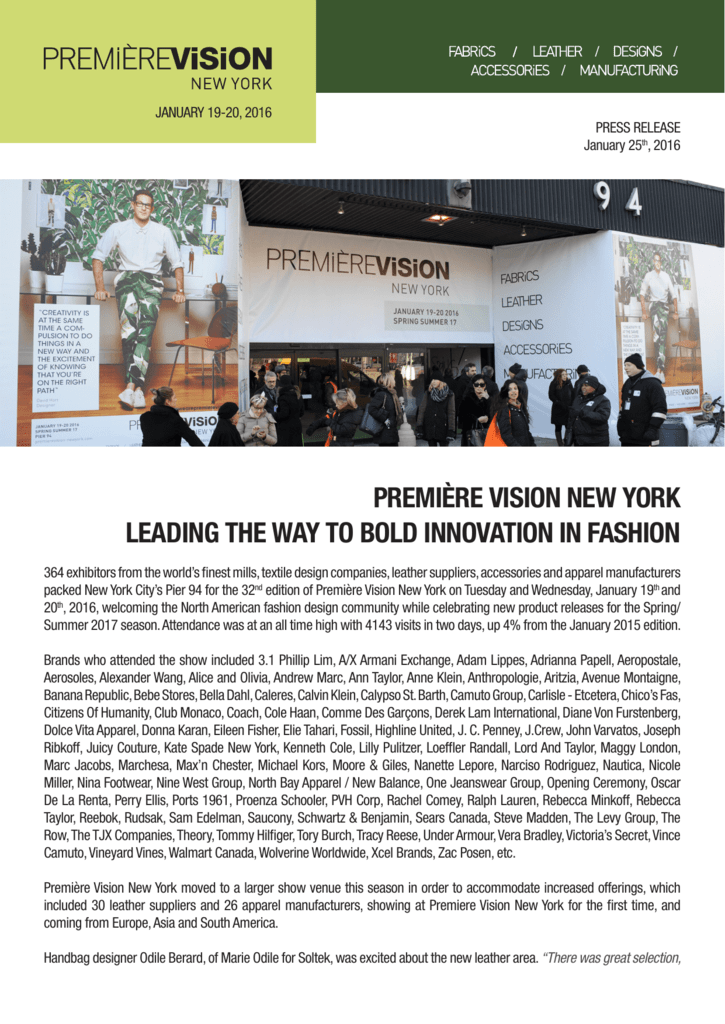 Premiere Vision New York Leading The Way To Bold Innovation In Fashion