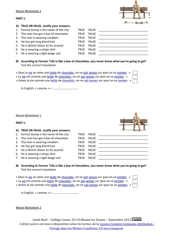 Movie Worksheet 1 Part 1 A True Or False Justify Your
