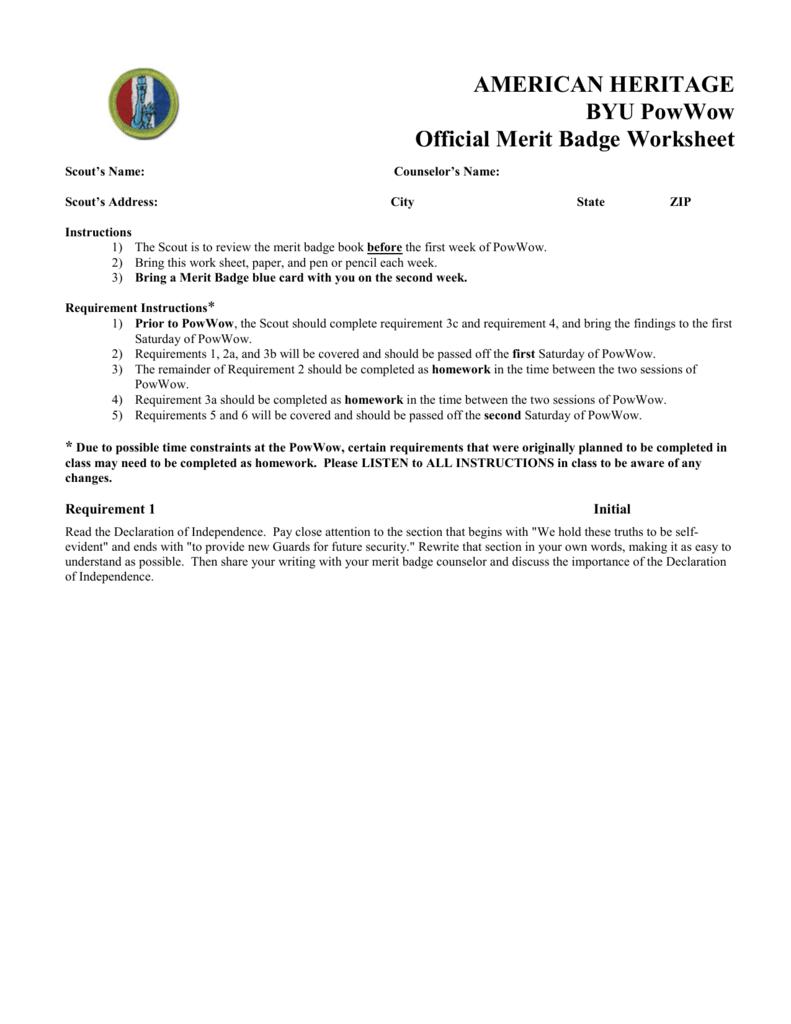 Uncategorized American Heritage Merit Badge Worksheet american heritage byu merit badge powwow