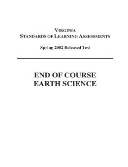 2002 Earth Science SOL Test