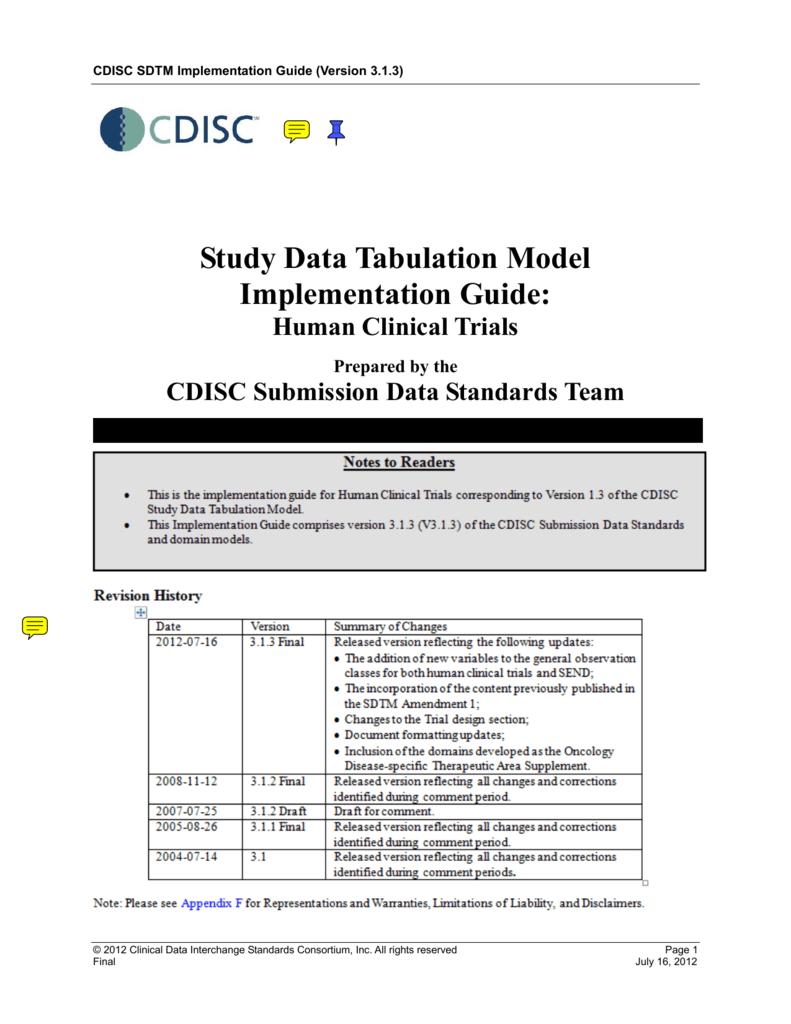 sdtm standard implementation guide