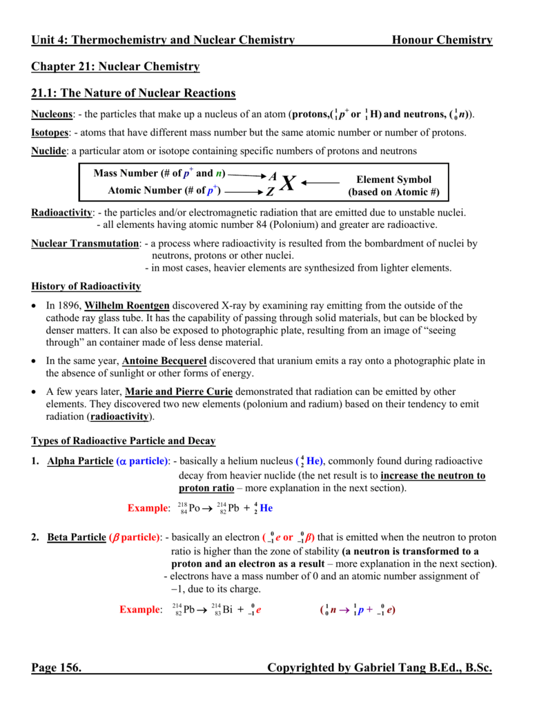 Chapter 21 Nuclear Chemistry Notes (answers)