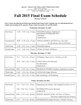 Fall 2015 Final Exam Schedule - St. Ignatius College Preparatory
