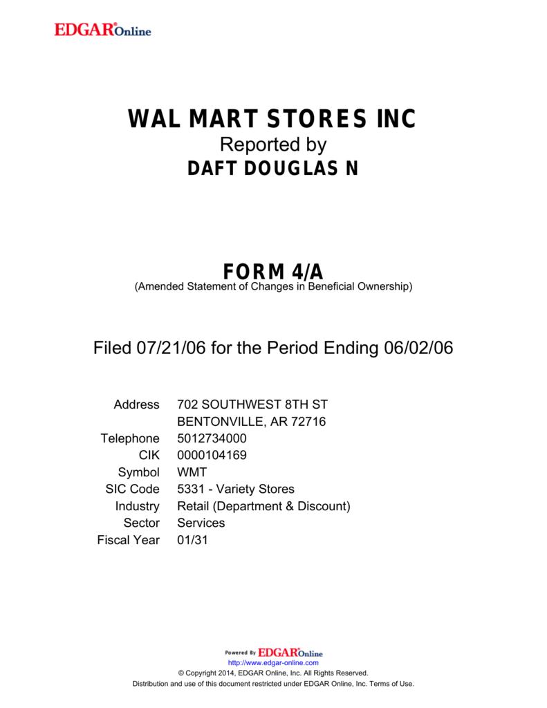 Wal Mart Stores Inc