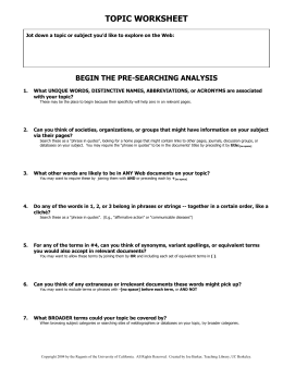 topic worksheet - UC Berkeley Library