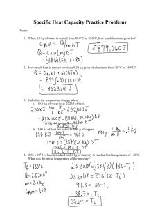 Specific Heat Capacity Practice Problems