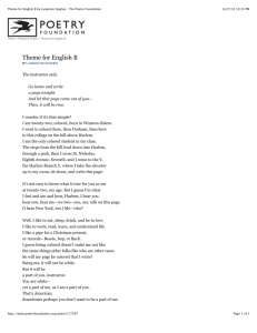 Theme for English B by Langston Hughes : The Poetry Foundation