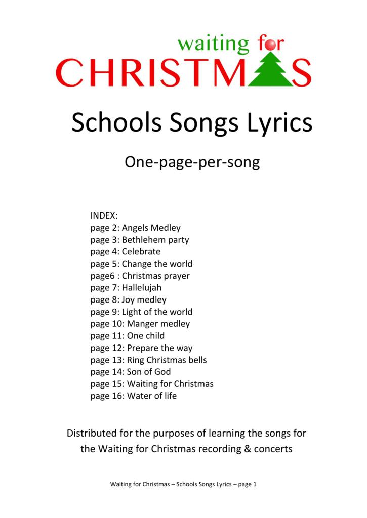 Hallelujah Christmas Lyrics.Schools Songs Lyrics Kingsfleet Primary School