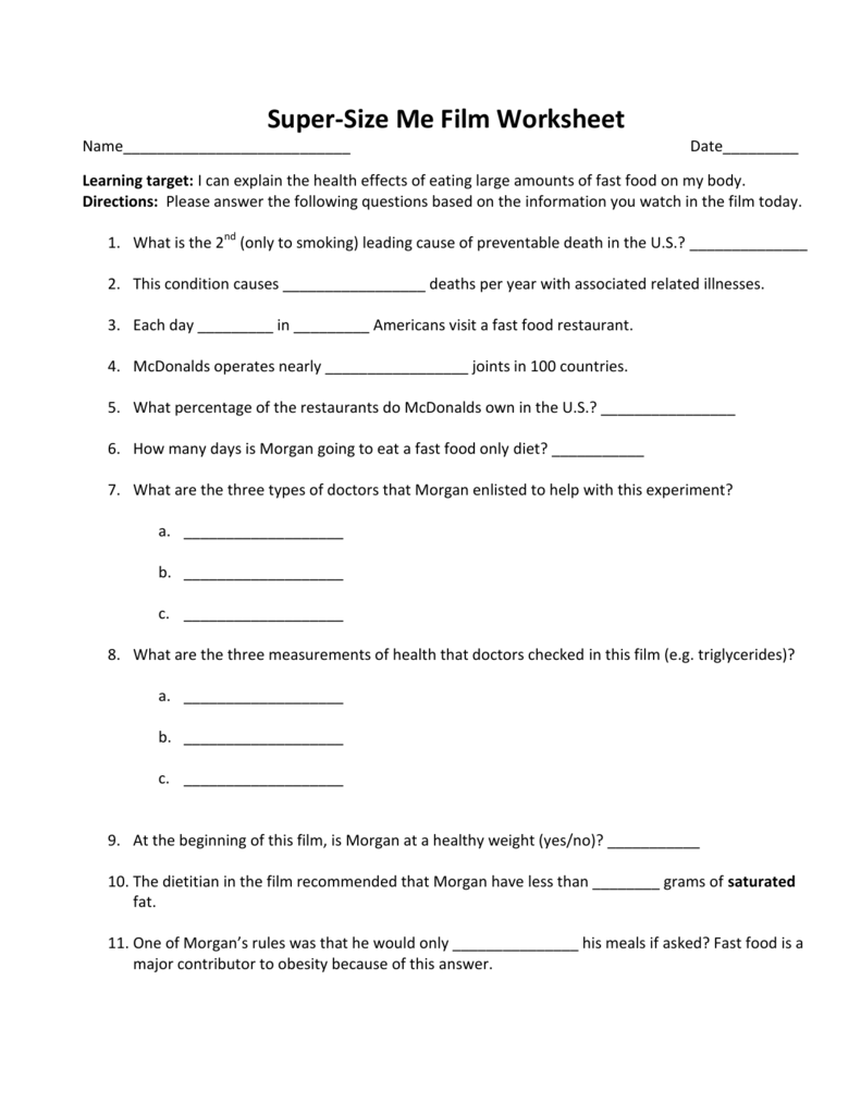 worksheet Supersize Me Worksheet Answers super size me film worksheet
