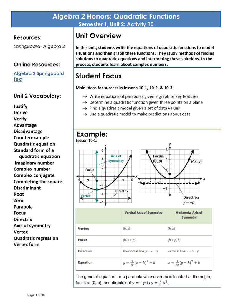 Worksheets Quadratic Regression Worksheet algebra 2 honors quadratic functions unit overview student focus
