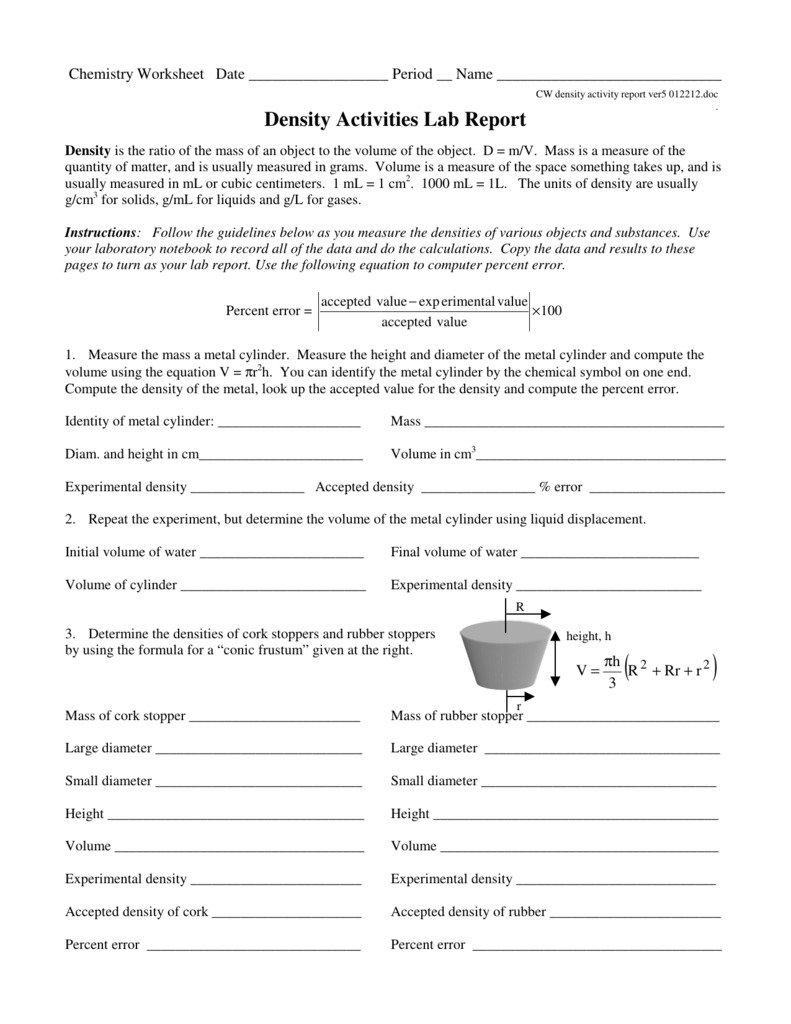 worksheet Density Activity Worksheet density activities lab report c7chemistry