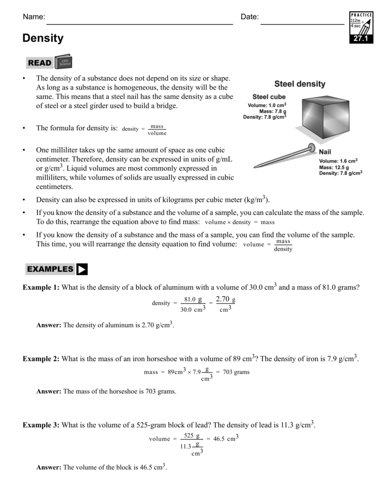Density CPO Science – Density Worksheet Answers