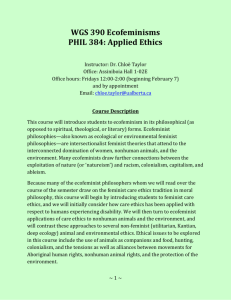 WGS 390 Ecofeminisms PHIL 384: Applied Ethics