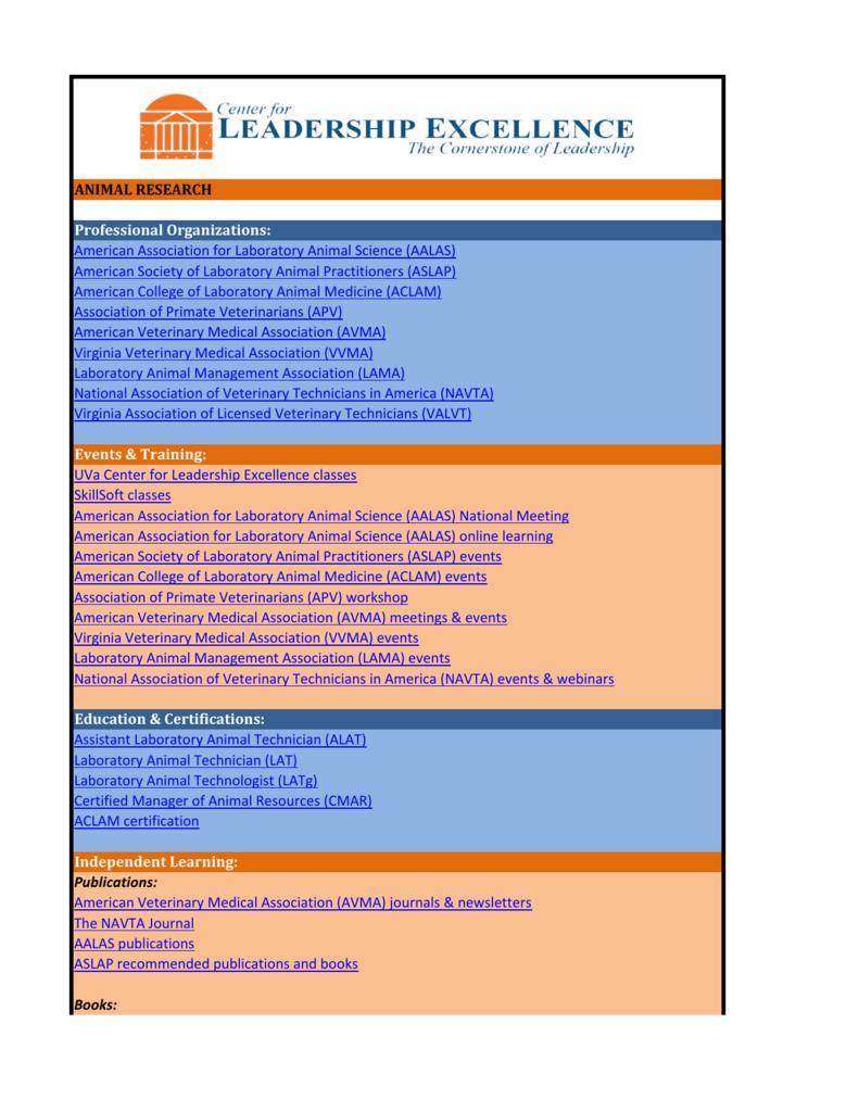 Animal Research Professional Organizations American