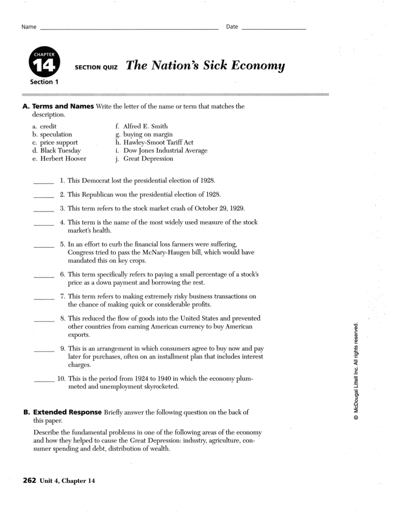14f section quiz The Nation s Sick Economy Esperanza