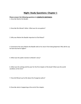 Night: Study Questions: Chapter 1