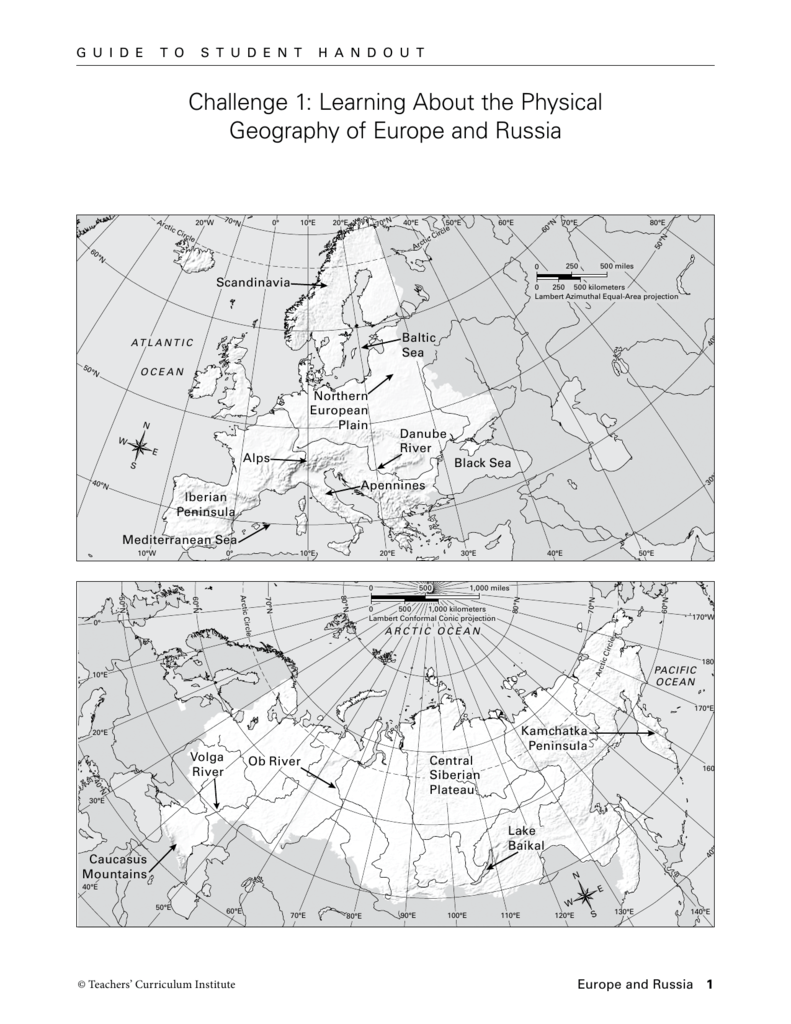 Europe And Russia Mapping Lab Challenge 1: Learning About the Physical Geography of Europe and Europe And Russia Mapping Lab