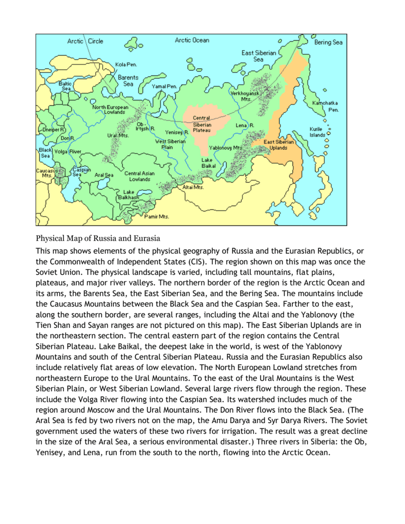 Image of: Physical Map Of Russia Sayre Geography Class