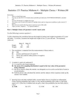 probability and statistics midterm View test prep - practice exam 1 midterm exam 1 on engineering probability and statistics from ece 3530 at university of utah name: ece 3530 practice midterm show your work.